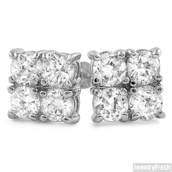 2.00 CTW Four Stone Rhodium CZ Stud Earrings