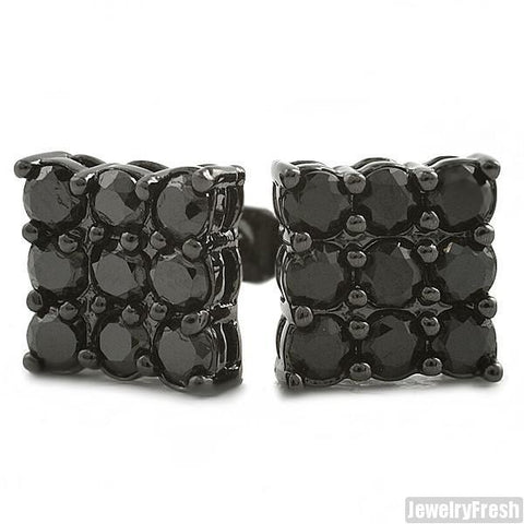 Black 9 Stone Prong Set CZ Stud Earrings 2 Carat