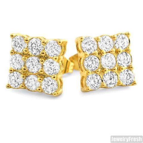 Gold Finish 9 Stone Prong Set CZ Stud Earrings 2 Carat