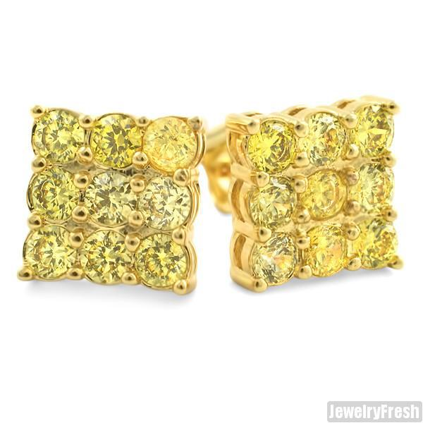 Gold Finish Canary 9 Stone Prong Set CZ Stud Earrings 2 Carat