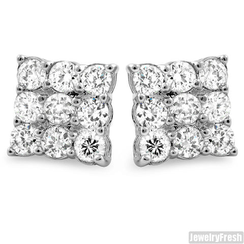 Rhodium 9 Stone Prong Set CZ Stud Earrings 2 Carat