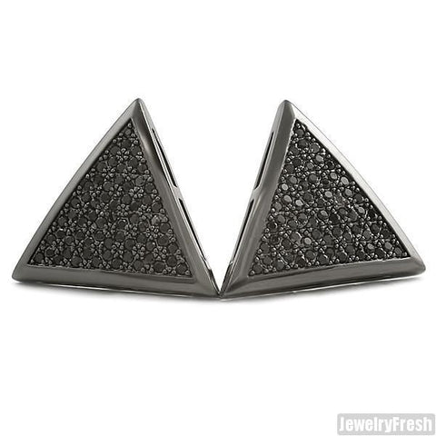 All Black Jumbo Triangle CZ Iced Out Hip Hop Earrings