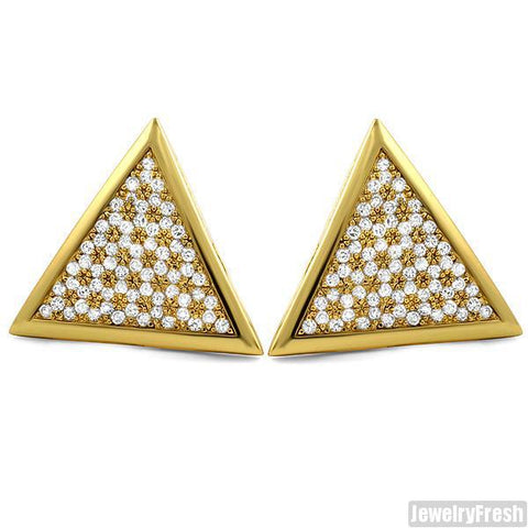 Gold Finish Jumbo Triangle CZ Iced Out Hip Hop Earrings