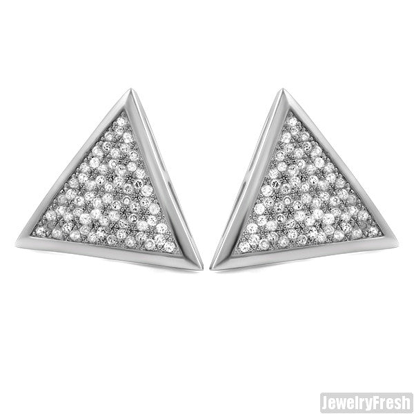 Silver Finish Jumbo Triangle CZ Iced Out Hip Hop Earrings