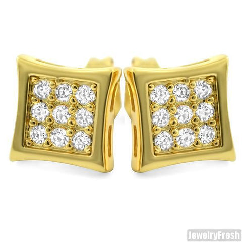 18k Gold Finish 18 Stone CZ Hip Hop Style Kite Earrings