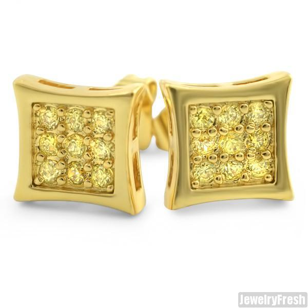 18k Gold Canary 18 Stone CZ Hip Hop Style Kite Earrings