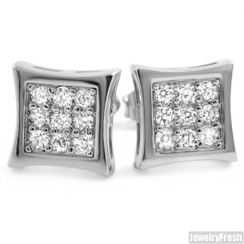 White Gold Finish 18 Stone CZ Hip Hop Style Kite Earrings