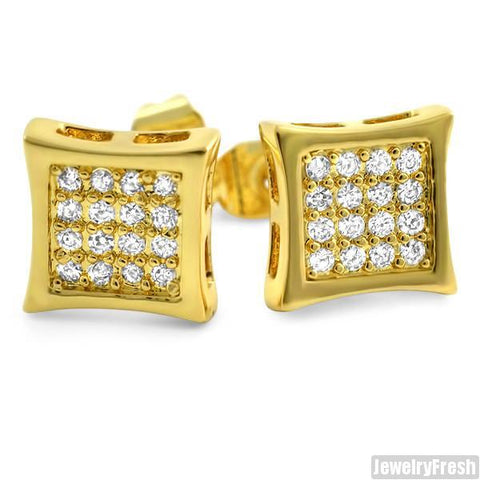 Gold Finish 32 Stone CZ Prong Set Kite Earrings