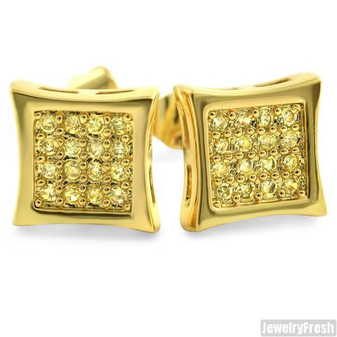 Gold Finish Canary 32 Stone CZ Prong Set Kite Earrings