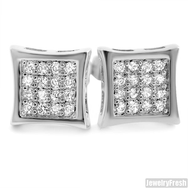 White Gold Finish 32 Stone CZ Prong Set Kite Earrings
