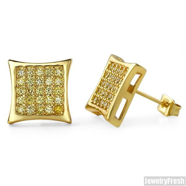 50 Stone CZ Gold Canary Mens Kite Earrings