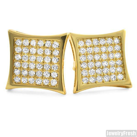 18k Gold Finish 72 Stone CZ Jumbo Mens Kite Earrings