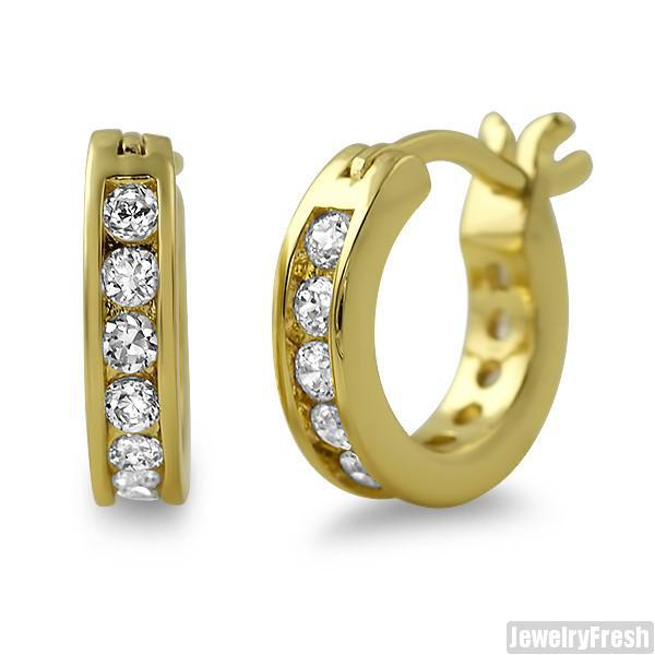 18k Gold Finish Iced CZ Mini Hoop Earrings for Men