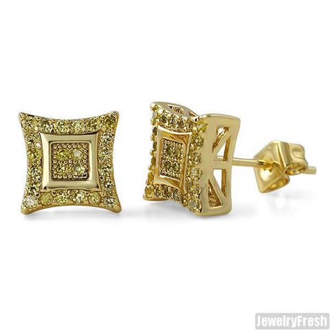 8mm Canary CZ Gold Fine Kite Stud Earrings