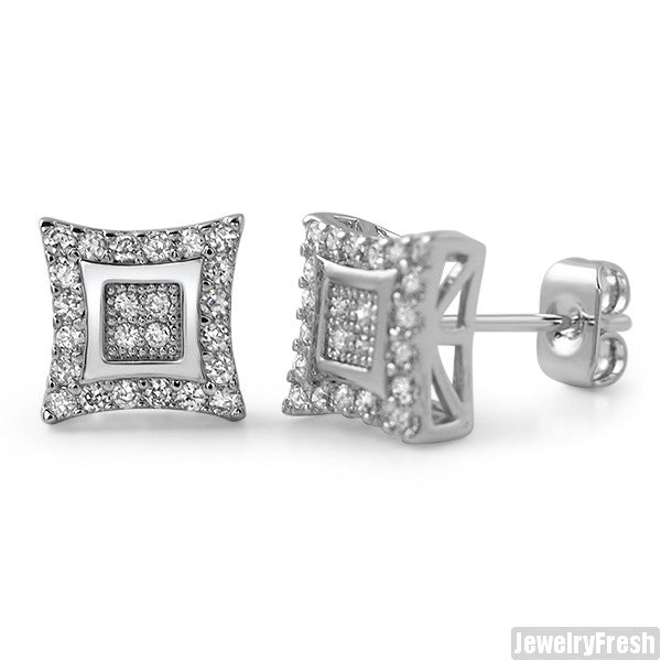 8mm Rhodium Finish CZ Gold Fine Kite Stud Earrings