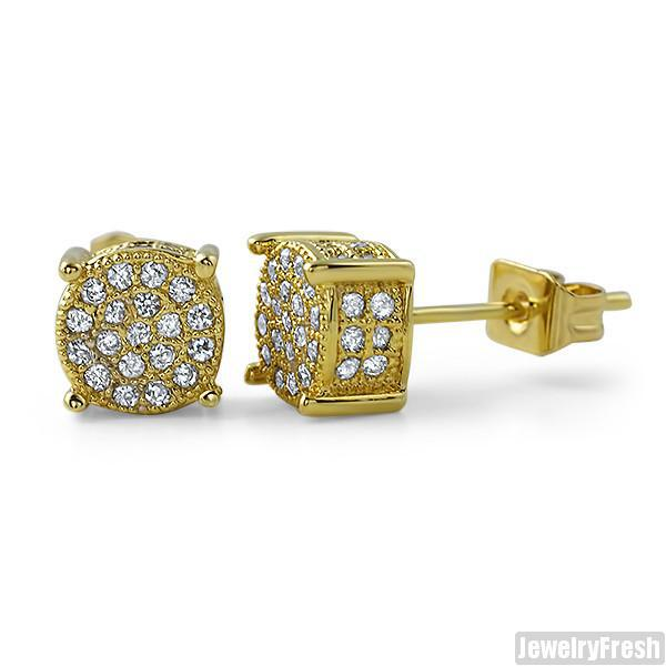 Gold 7mm Small 360 Iced Out Round Earrings