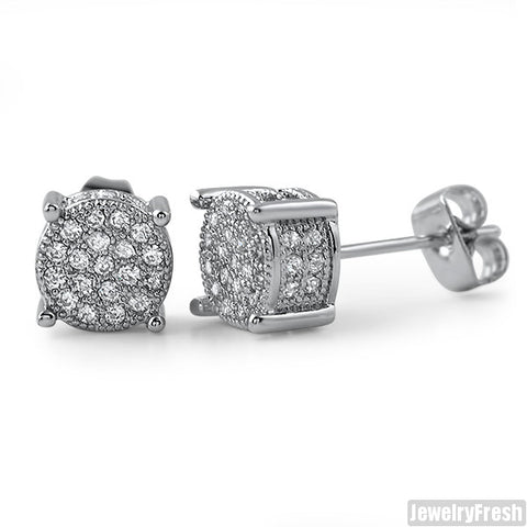 Rhodium 7mm Small 360 Iced Out Round Earrings