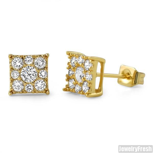 Gold Small 7mm Square Cluster CZ Earrings