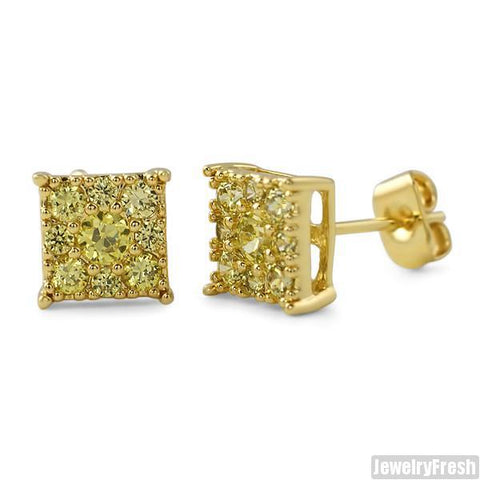 Gold Canary Small 7mm Square Cluster CZ Earrings