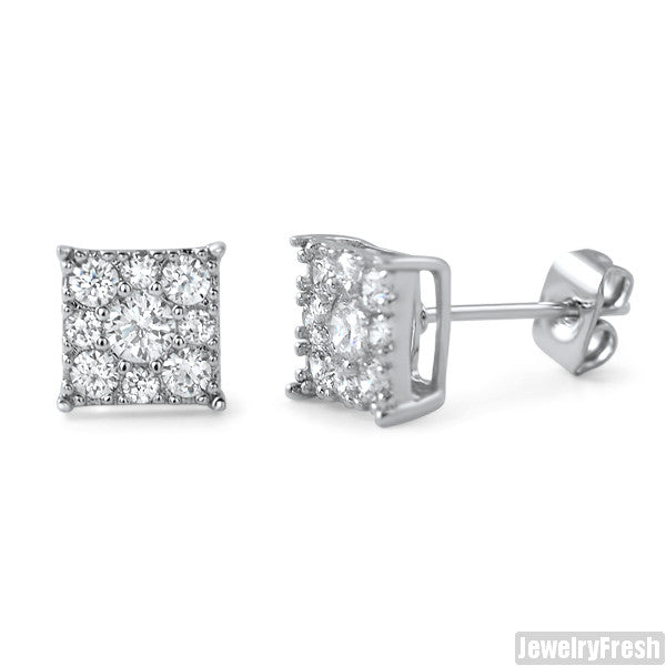 Rhodium Small 7mm Square Cluster CZ Earrings