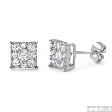 ad91255e7 Rhodium Small 7mm Square Cluster CZ Earrings – JewelryFresh