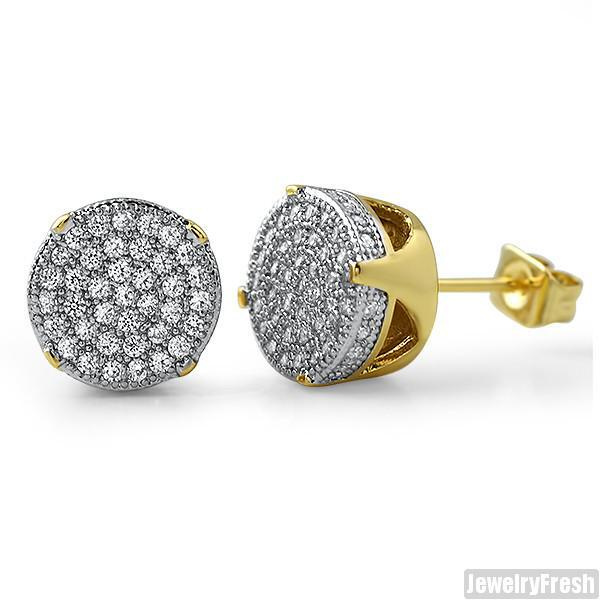 10mm Gold Finish Round CZ Iced Out Earrings