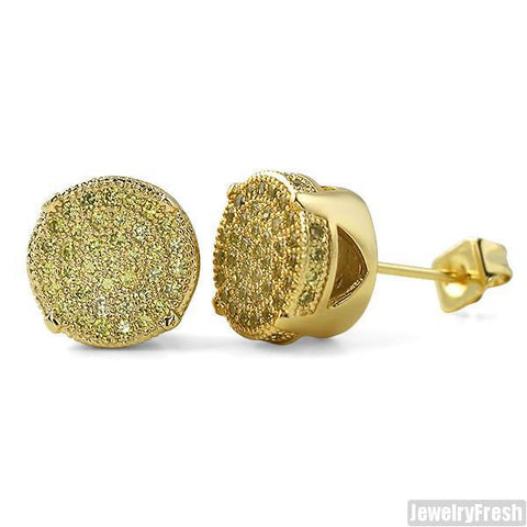 10mm Gold Canary Round CZ Iced Out Earrings