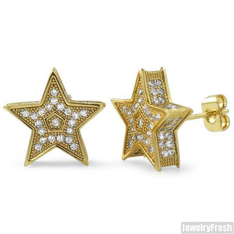 Gold Jumbo 3D Star Micropave CZ Earrings