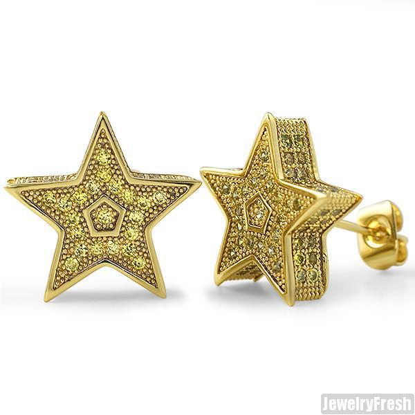 Gold Canary Jumbo 3D Star Micropave CZ Earrings