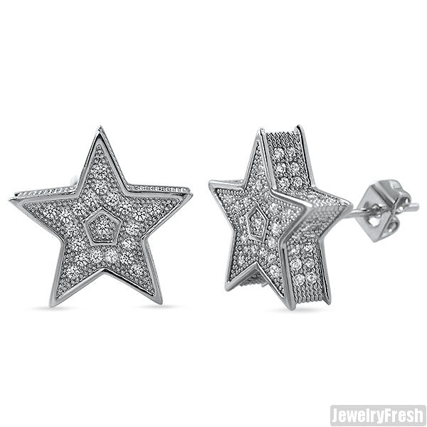 White Gold Finish Jumbo 3D Star Micropave CZ Earrings