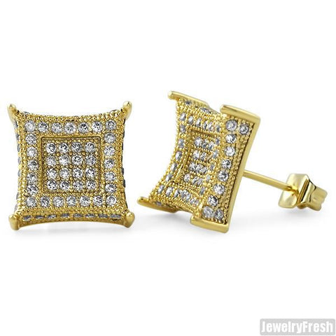Jumbo 12mm CZ Mens Royalty Earrings Gold