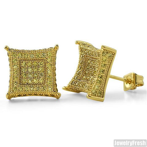 Jumbo 12mm CZ Mens Royalty Earrings Canary