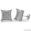 Jumbo 12mm CZ Mens Royalty Earrings Rhodium