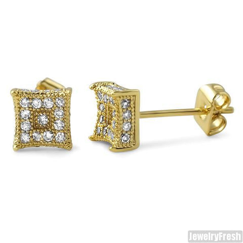 Small 6mm CZ Mens Royalty Earrings Gold