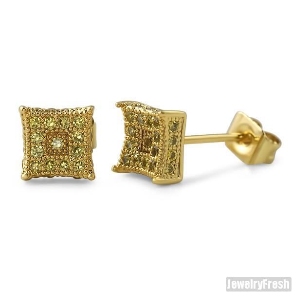 Small 6mm CZ Mens Royalty Earrings Canary