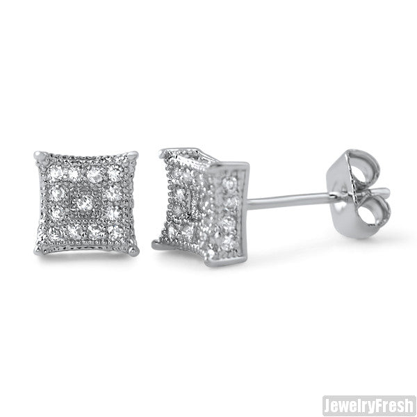 Small 6mm CZ Mens Royalty Earrings Rhodium