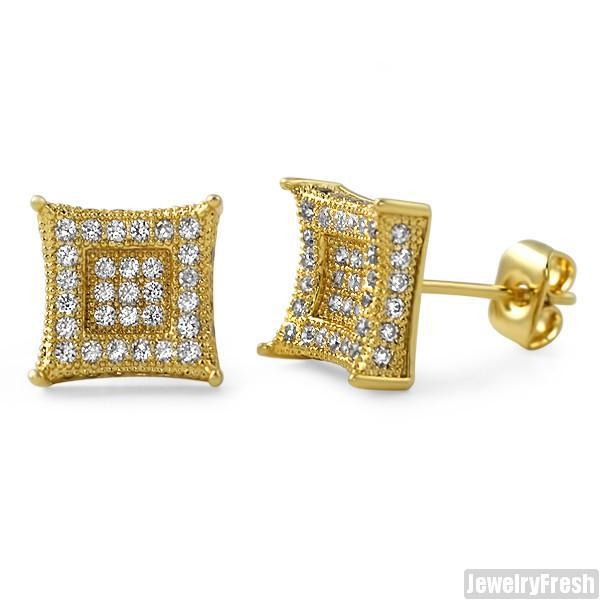 Gold 9mm CZ Micropave Royalty Earrings