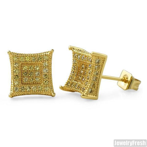Gold Canary 9mm CZ Micropave Royalty Earrings