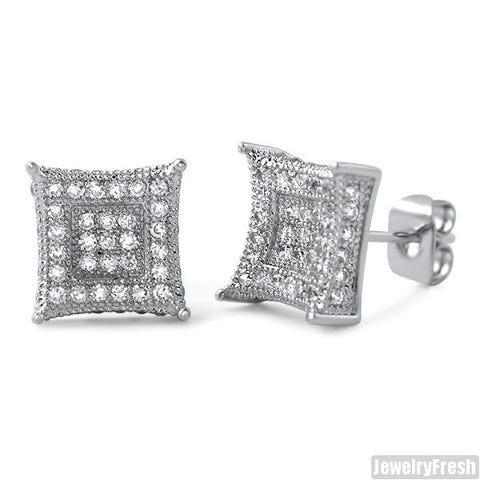 Platinum Tone 9mm CZ Micropave Royalty Earrings