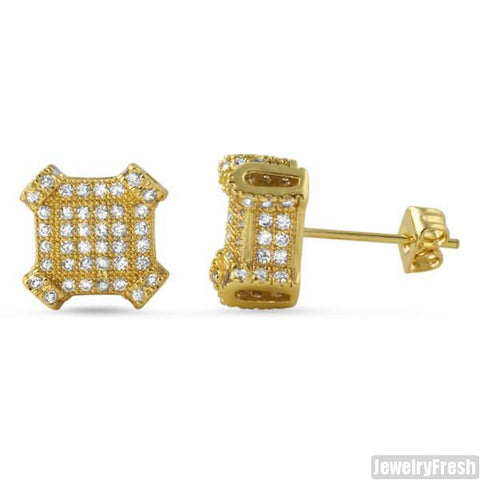 2.10 CTW Lab Simulated Diamond Gold Cube Earrings