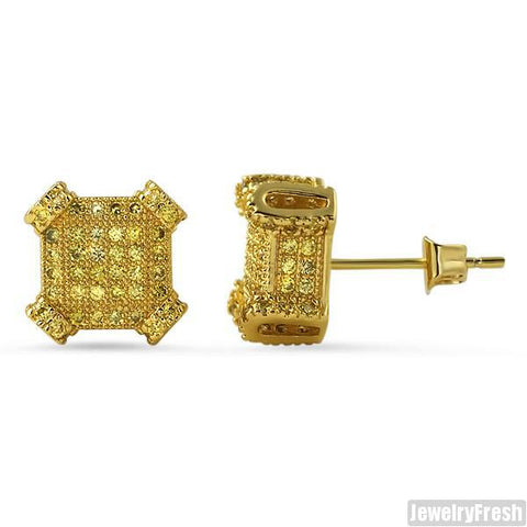 2.10 CTW Lab Simulated Canary Diamond Cube Earrings