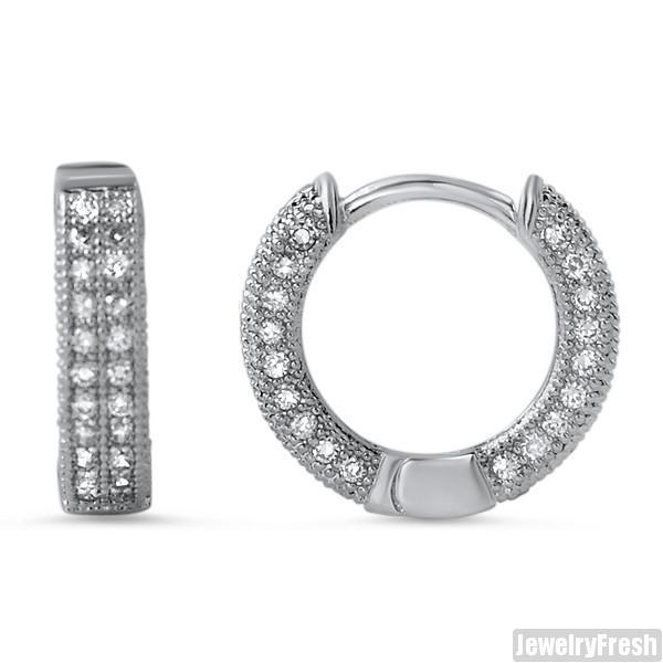 14mm Silver Two Row Iced Hoop CZ Earrings