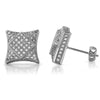 Platinum Tone Raised Kite Hip Hop Style Earrings