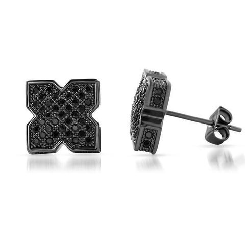 Black Cubic Zirconia X Shape Iced Out Earrings