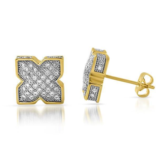 Gold Cubic Zirconia X Shape Iced Out Earrings
