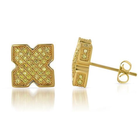 Lemonade Cubic Zirconia X Shape Iced Out Earrings
