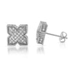 White Gold Tone Cubic Zirconia X Shape Iced Out Earrings