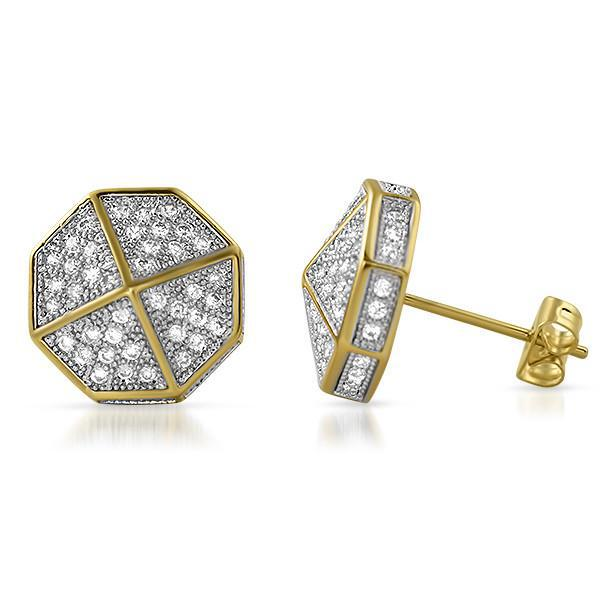 14k Gold Tone Umbrella Shape Iced Out Earrings