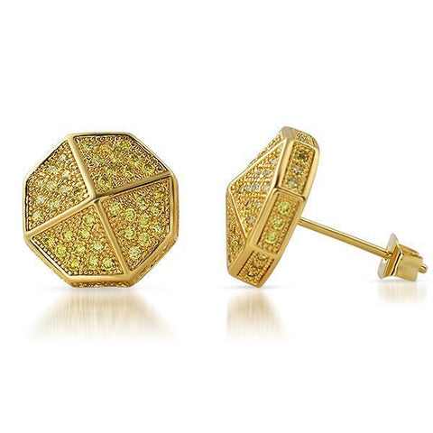 Gold Canary Stones Umbrella Shape Iced Out Earrings
