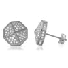 White Gold Finish Umbrella Shape Iced Out Earrings